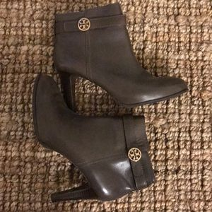 Tory Burch taupe heeled booties